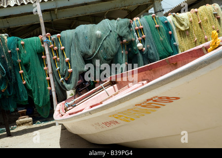 Fishing boat and nets on the beach, Anse la Raye, St Lucia, 'West Indies' - Stock Photo