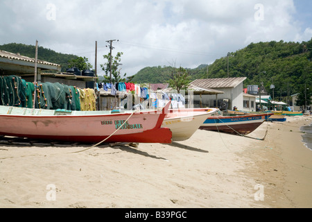 Fishing boats on the beach, Anse la Raye, St Lucia, 'West Indies' - Stock Photo