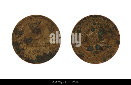 Three kopeks Soviet coin from 1935 year. Obverse and reverse isolated on white - Stock Photo