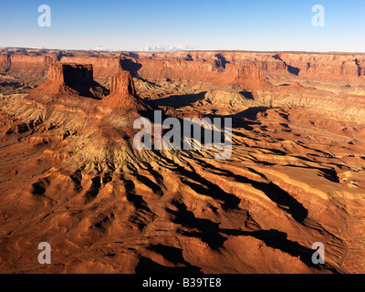 Aerial landscape of mesas in Canyonlands National Park Moab Utah United States - Stock Photo