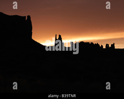 Scenic sunset landscape of mesas in Monument Valley near the border of Arizona and Utah United States - Stock Photo