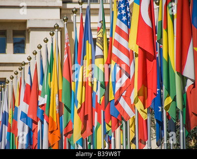 Flags of many nations outside the UN - Stock Photo