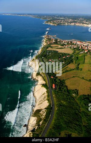 Aerial view of the coast near St Jean de Luz bay France - Stock Photo