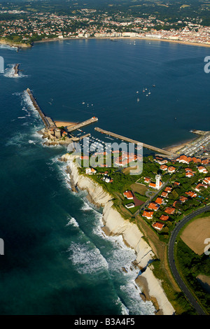Aerial view of St Jean de Luz bay France - Stock Photo