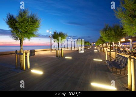 Chambre d Amour esplanade by night in Anglet France - Stock Photo