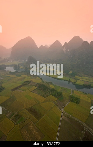 Karst Mountain Landscape, aerial view from baloon, Yangshuo, Guilin, Guangxi Province, China - Stock Photo