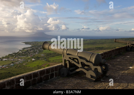 St. Kitts and Nevis, Nevis, Pinneys Beach, beach view - Stock Photo