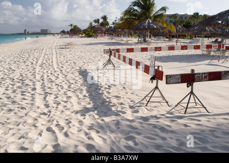 Sea turtle nesting area on Eagle Beach Aruba - Stock Photo