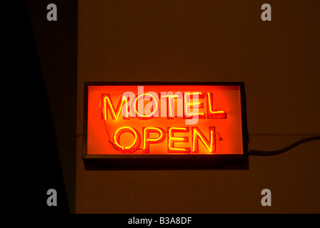 USA, Texas, Route 66, Shamrock, motel sign - Stock Photo