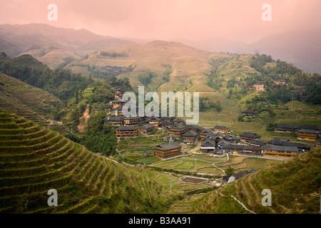 Yao Village of Dazhai, Longsheng, Guangxi Province, China - Stock Photo