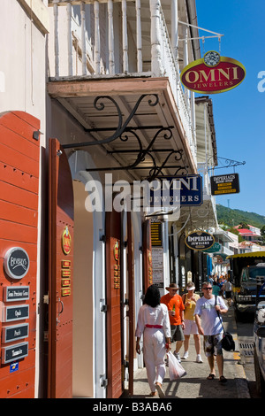 Caribbean, US Virgin Islands, St. Thomas, Charlotte Amalie, shops lining the central Main Street - Stock Photo