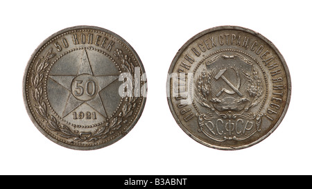 Fifty kopecks. Silver coin of Soviet Russia designed by Anton Vasyutinsky, 1921. Obverse and reverse isolated on - Stock Photo