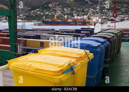 Recycling bins on the deck of a ship. - Stock Photo