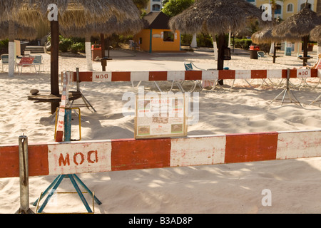 Protected sea turtle nesting area on Eagle Beach Aruba - Stock Photo