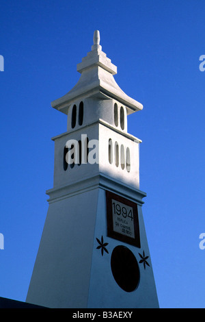 A very old traditional chimney in Alte, Algarve, Portugal. - Stock Photo