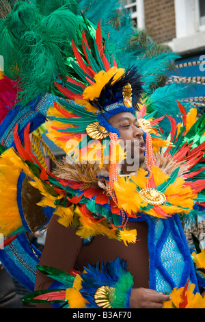 Dancer at the Notting Hill Carnival, London, England, UK.  25th August 2008. - Stock Photo