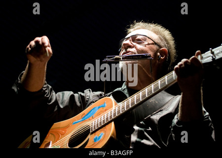 Argentinian folk musician Leon Gieco in a concert in Cordoba Argentina - Stock Photo