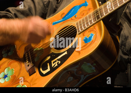 Close up of the ornamented guitar of the argentinian folk musician Leon Gieco in a concert in Cordoba Argentina - Stock Photo