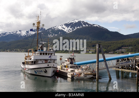 NOAA research ship at quay in Juneay harbour. - Stock Photo