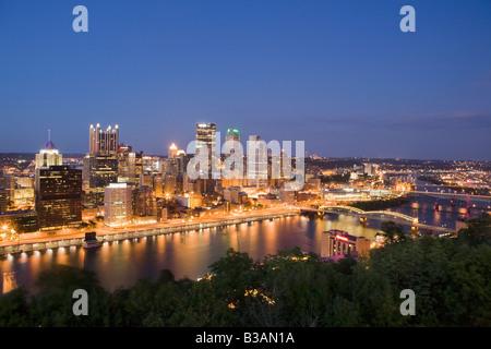Dusk skyline of Pittsburgh Pennsylvania - Stock Photo