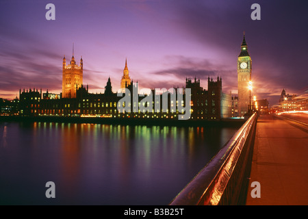 Houses of Parliament and Big Ben and Palace of Westminster at night, London, England, UK - Stock Photo