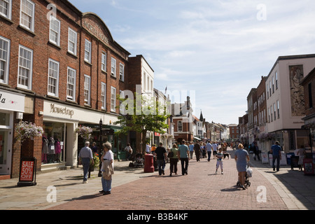 View along North Street pedestrian precinct in small city shopping centre. Chichester West Sussex England UK Britain - Stock Photo