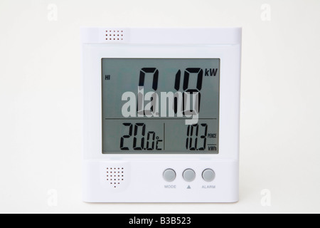Wireless Owl electrical energy monitor with LCD display reading low number of kilowatts of domestic electricity - Stock Photo