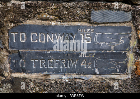 Old Road Sign in Betws Y Coed Conwy Wales - Stock Photo