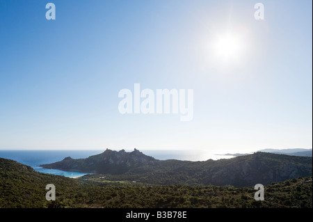View over the Gulf of Roccapina and the Lion Rock in the late afternoon, South Coast near Sartene, Corsica, France - Stock Photo