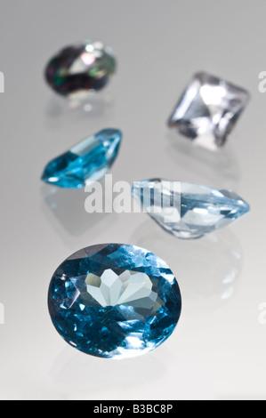 Blue and White Topaz Gemstones - Stock Photo