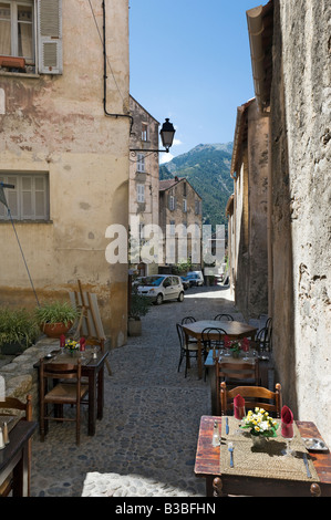 Restaurant in the haute ville (old town), Corte (former capital of independent Corsica), Haute Corse, Central Corsica, - Stock Photo