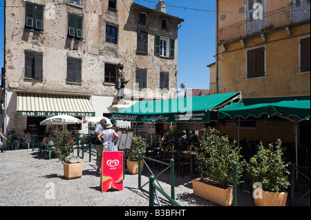 Restaurant in Place Goffory in haute ville (old town), Corte (former capital of independent Corsica), Central Corsica, - Stock Photo