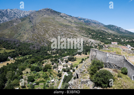 View from the citadelle in the haute ville (old town), Corte (former capital of independent Corsica), Central Corsica, - Stock Photo