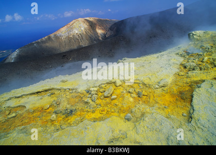 Steam vents with sulfur in crater, Vulcano, Vulcano Island, Aeolian Islands, Sicily, Italy - Stock Photo