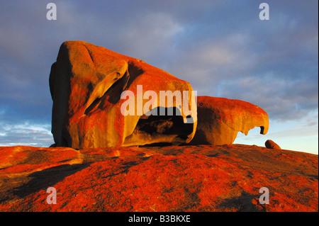 Remarkable Rocks at sunset Kangaroo Island Flinders Chase National Park South Australia Australia - Stock Photo
