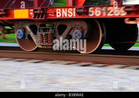 Freight train wheels showing motion blur - Stock Photo