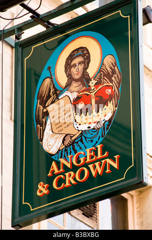 Angel and Crown Pub sign, London, England - Stock Photo