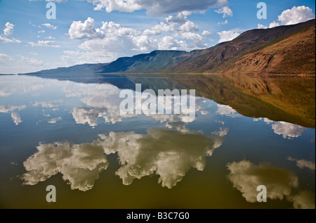 Kenya, Kabarnet. Lake Bogoria, an alkaline lake in Africa's Great Rift Valley, which is renowned for its dramatic - Stock Photo