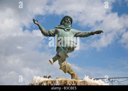 Jolly Fisherman statue 1908 in Embassy Gardens Skegness Lincolnshire UK - Stock Photo