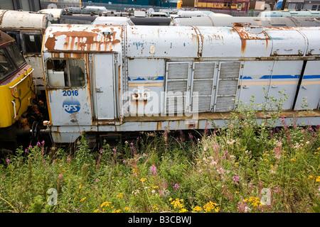 UK Derbyshire Chesterfield Barrow Hill Roundhouse Railway Centre unrestored diesel locomotives in yard - Stock Photo