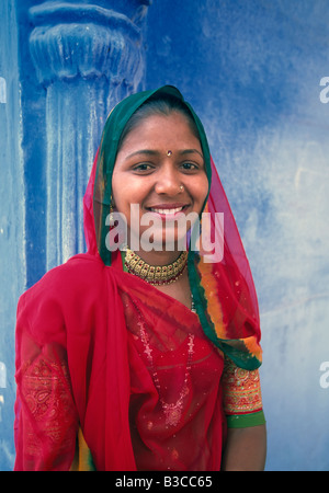 Portrait of a local woman in the Blue City Jodhpur Rajasthan State India Asia - Stock Photo
