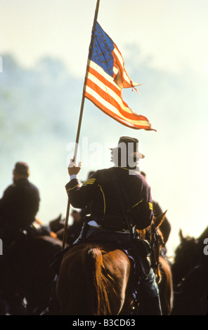 ARKANSAS Reenactment in the civil war Battle of Pea Ridge National Military Park National Park Service - Stock Photo