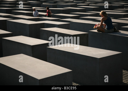 Memorial to the Murdered Jews of Europe designed by architect Peter Eisenman in Berlin, Germany - Stock Photo