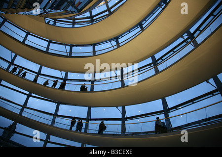 Tourists inside the dome of the Reichstag building in Berlin, Germany - Stock Photo