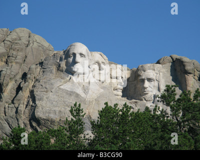 The Mount Rushmore National Memorial located near Keystone, South Dakotam United States.  A very popular tourist - Stock Photo