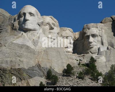 The Mount Rushmore National Memorial located near Keystone, South Dakotam United States.  A very popular tourist - Stock Photo