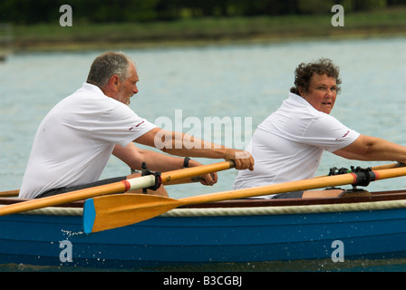 Hamble River Raid Charity Rowing Race on the Hamble River - Stock Photo