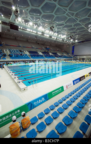 China, Beijing. The Water Cube National Aquatics Center swimming arena in the Olympic Park. - Stock Photo