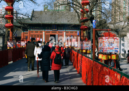 China, Beijing. Chinese New Year Spring Festival - visitors at Donyue temple and Beijing Folk Arts Museum. - Stock Photo