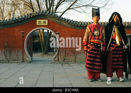 China, Beijing. Beiputuo temple and film studio - Chinese New Year Spring Festival - guards in traditional costume. - Stock Photo
